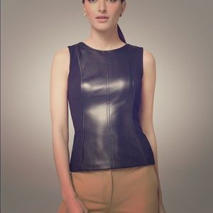 WHBM Faux Leather Bodice Top